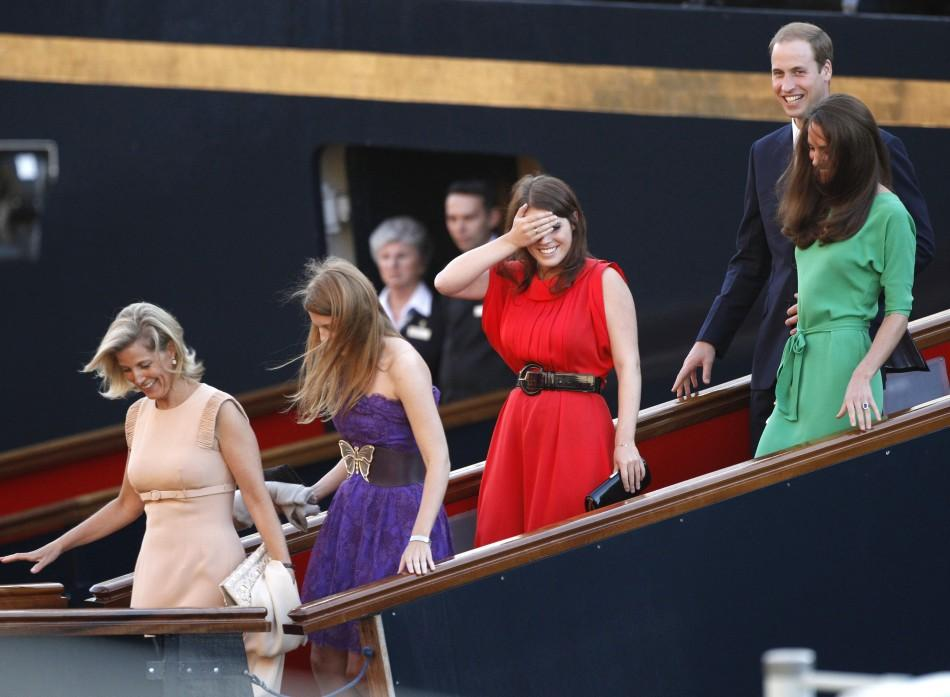 Royals laugh as they leave a drinks reception on the royal yacht Brittania in Edinburgh, Scotland