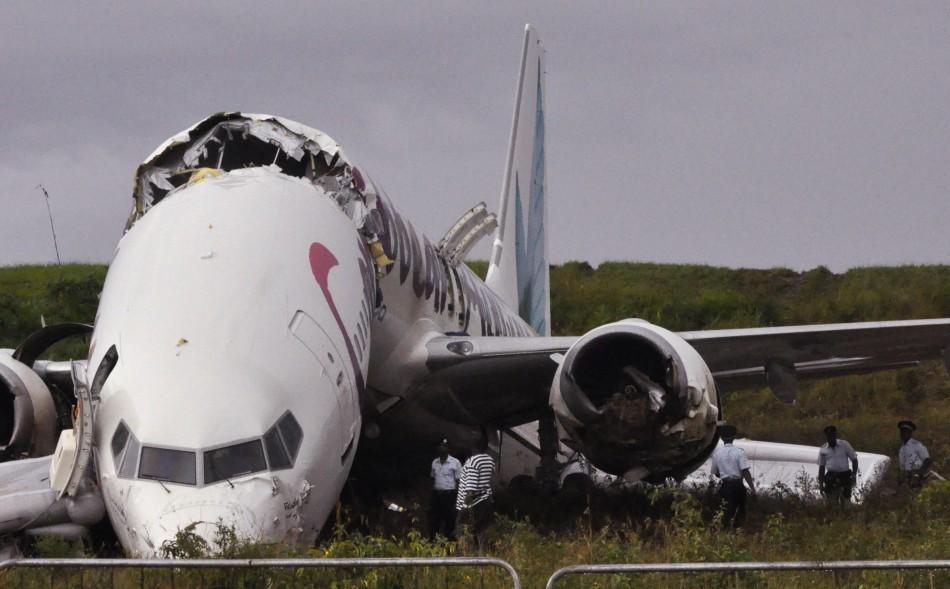 Caribbean Airlines jet is seen broken at Cheddi Jagan International airport outside Georgetown