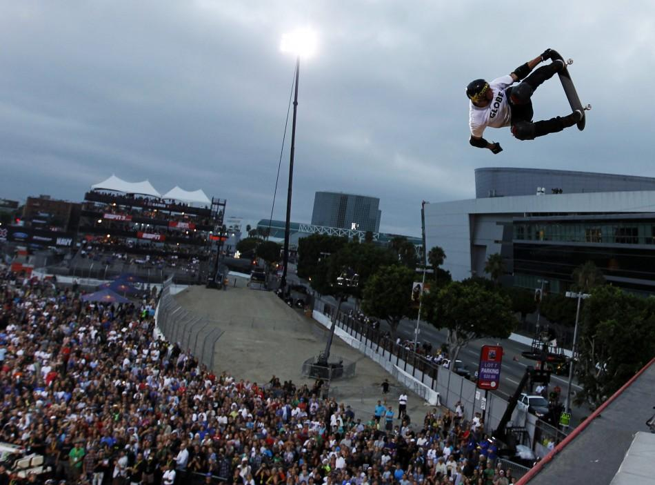 Elliot Sloan of the U.S. competes during the Skateboard Big Air Final at X Games 17 in Los Angeles