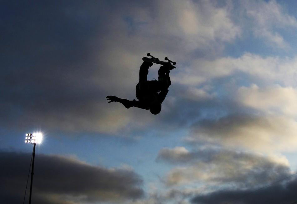 Jake Brown of Australia competes during the Skateboard Big Air Final at X Games 17 in Los Angeles