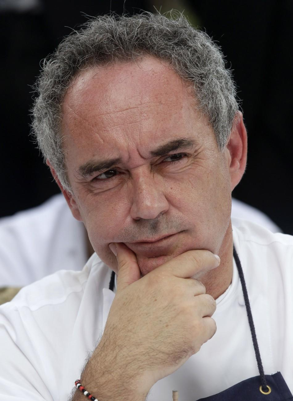 Ferran Adria, chef and co-owner of El Bulli restaurant, gestures during a news conference outside the restaurant in Cala Montjoi, near Roses