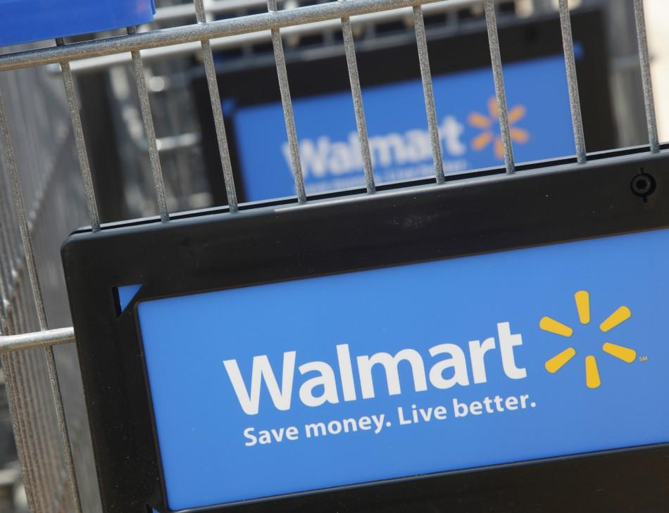 Shopping carts are seen outside a new Walmart Express store in Chicago