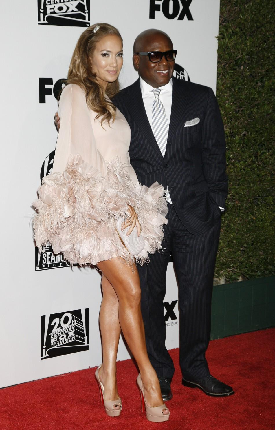 "Jennifer Lopez and record executive Antonio ""L.A."" Reid arrive at the Fox Searchlight 2011 Golden Globe Awards Party at The Beverly Hilton hotel in Beverly Hills, California"