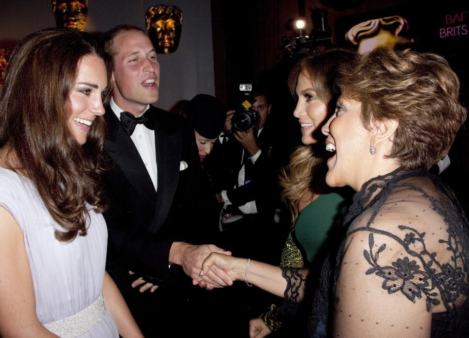 Britain's Prince William and his wife Catherine, Duchess of Cambridge speak to actress Jennifer Lopez and her mother at the BAFTA Brits to Watch event in Los Angeles