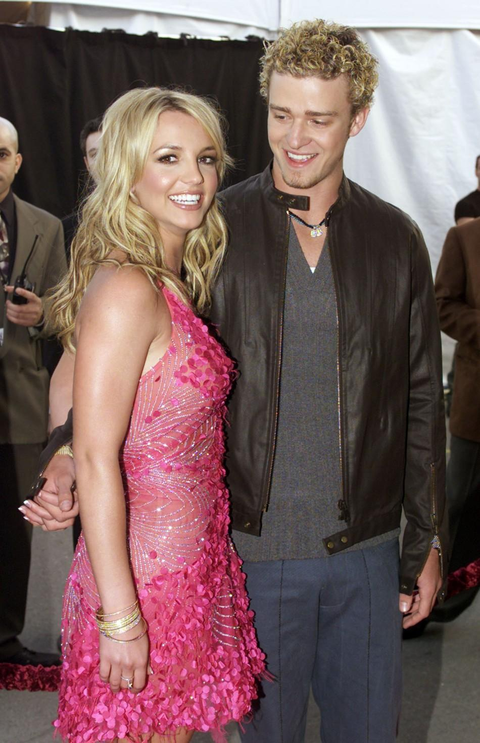 "Singer Britney Spears and boyfriend, Justin Timberlake of the group ""'N Sync"" arrive at the 29th ann.."