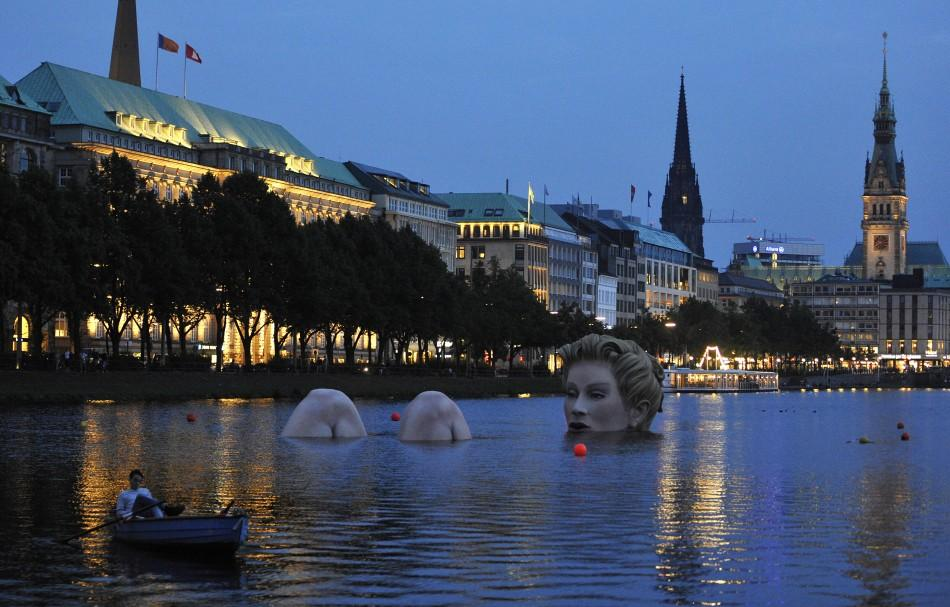 Giant Mermaid Sculpture in Alster Lake