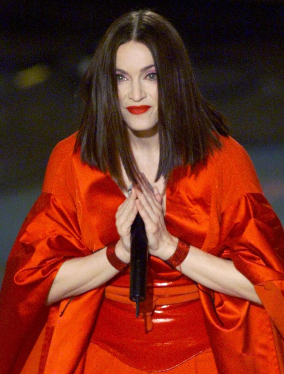 "Madonna performs her song ""Nothing Really Matters"" during the 41st Grammy Awards February 24, 1999. Madonna's album ""Ray of Hope"" won for Best Pop Album."