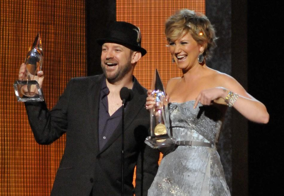 Sugarland accepts the Vocal Duo of the Year award at the annual Country Music Association Awards in Nashville