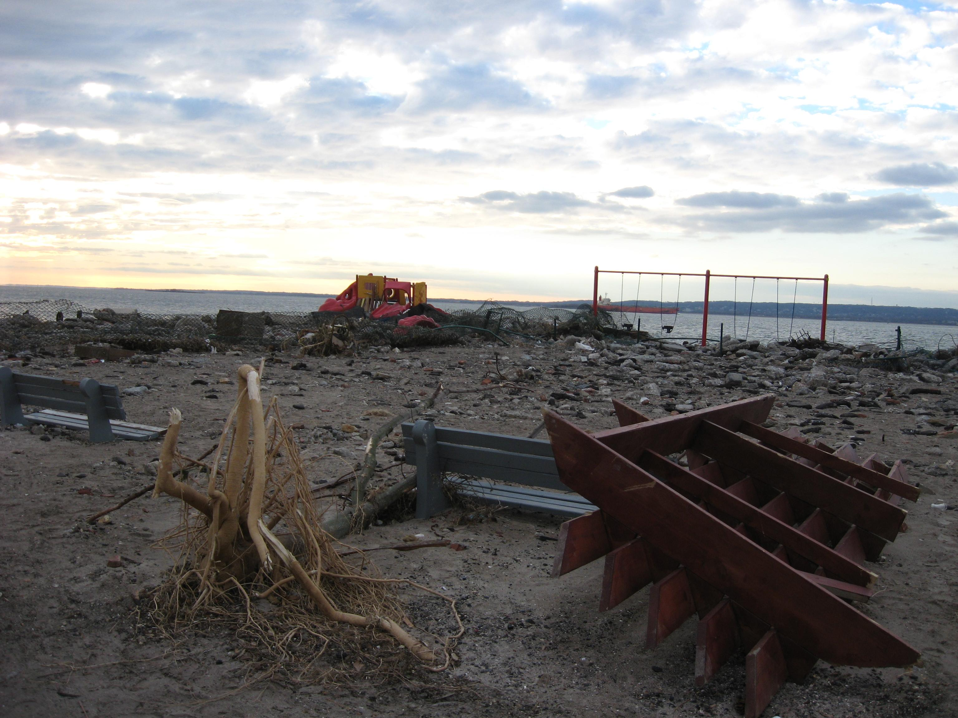 Debris-Strewn Beach In Post-Sandy Sea Gate