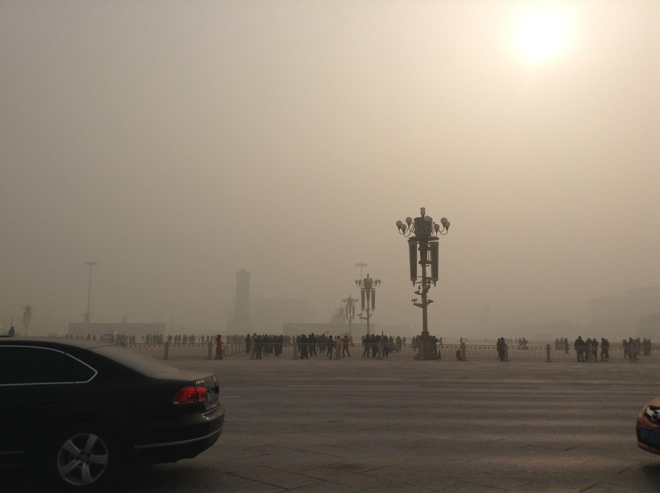 Air Pollution In Tiananmen Square, China