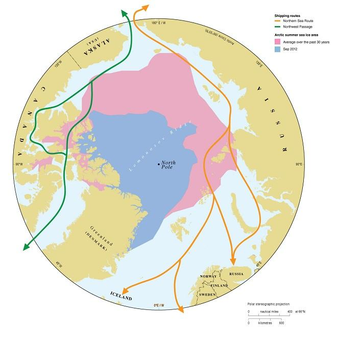 Arctic Sea Ice and Shipping Route Map
