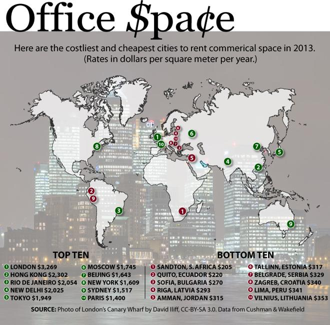 World's most and least expeinsive places to rent office space [MAP]