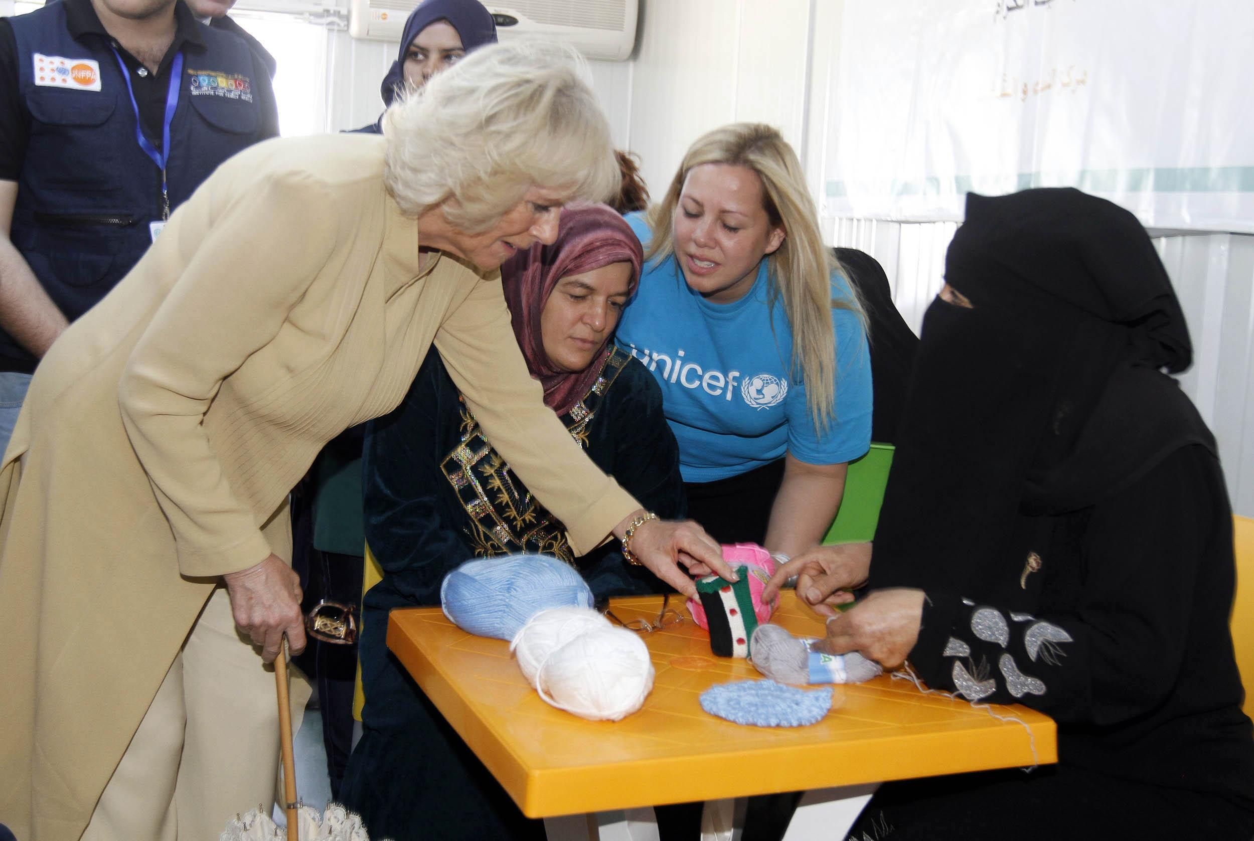 Camilla with Syrian refugee women in Jordan