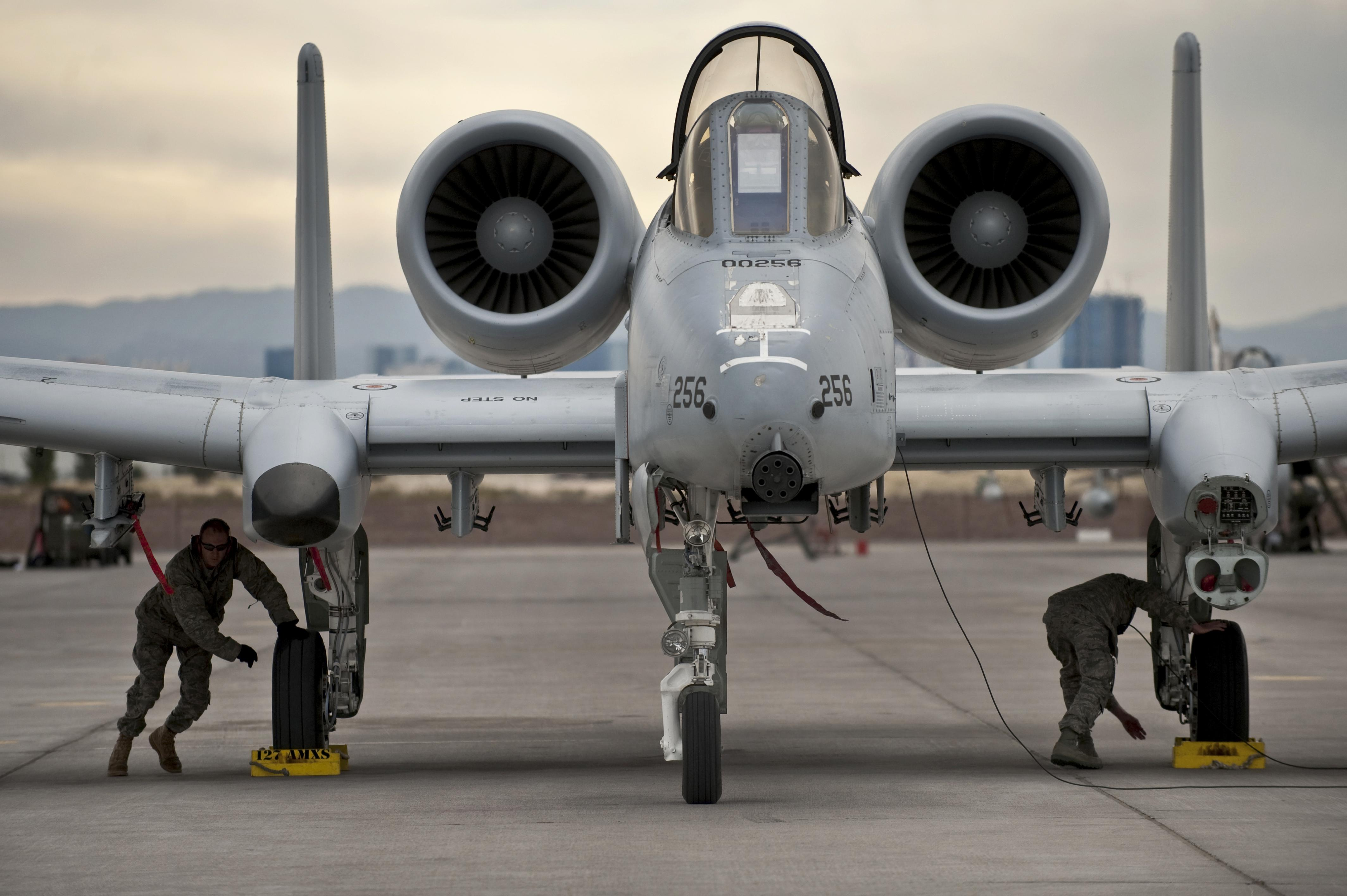 A-10 Thunderbolt aircraft being maintained