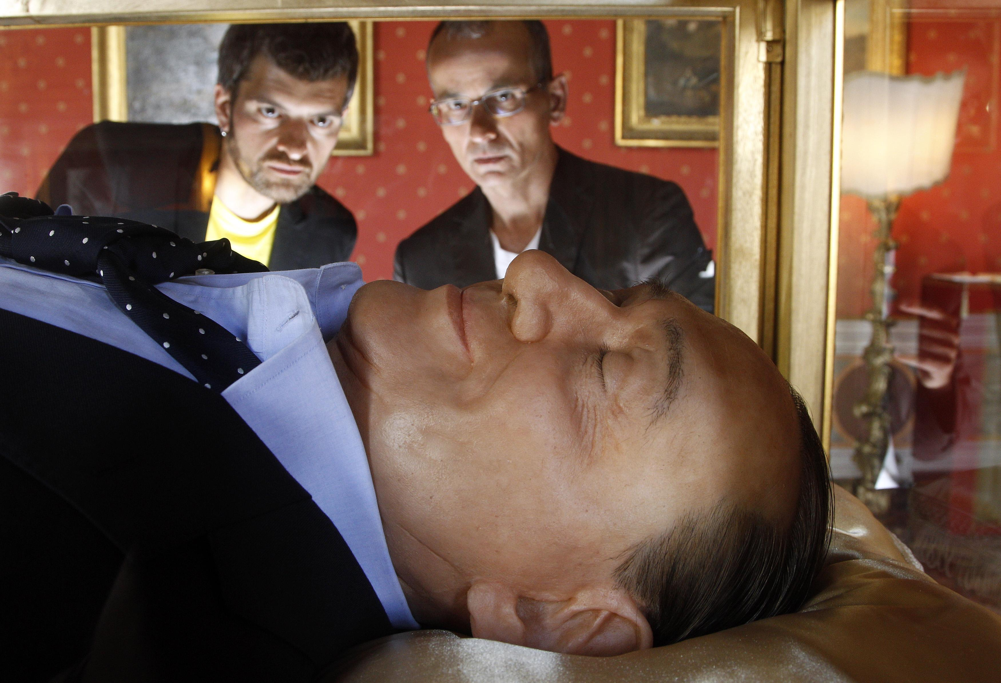 Wax Berlusconi sleeping