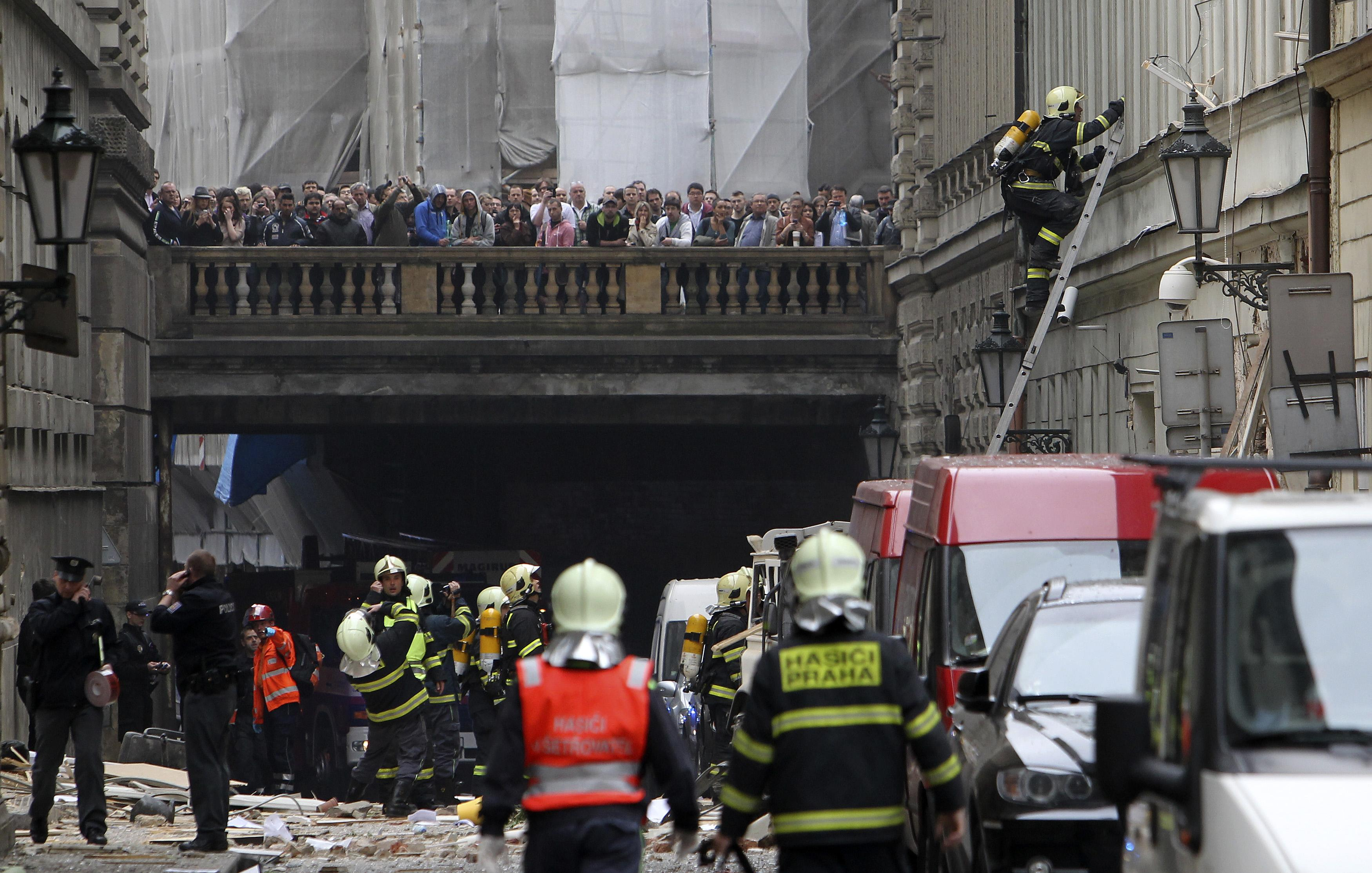 Firefighters on the scene of explosion in Prague.