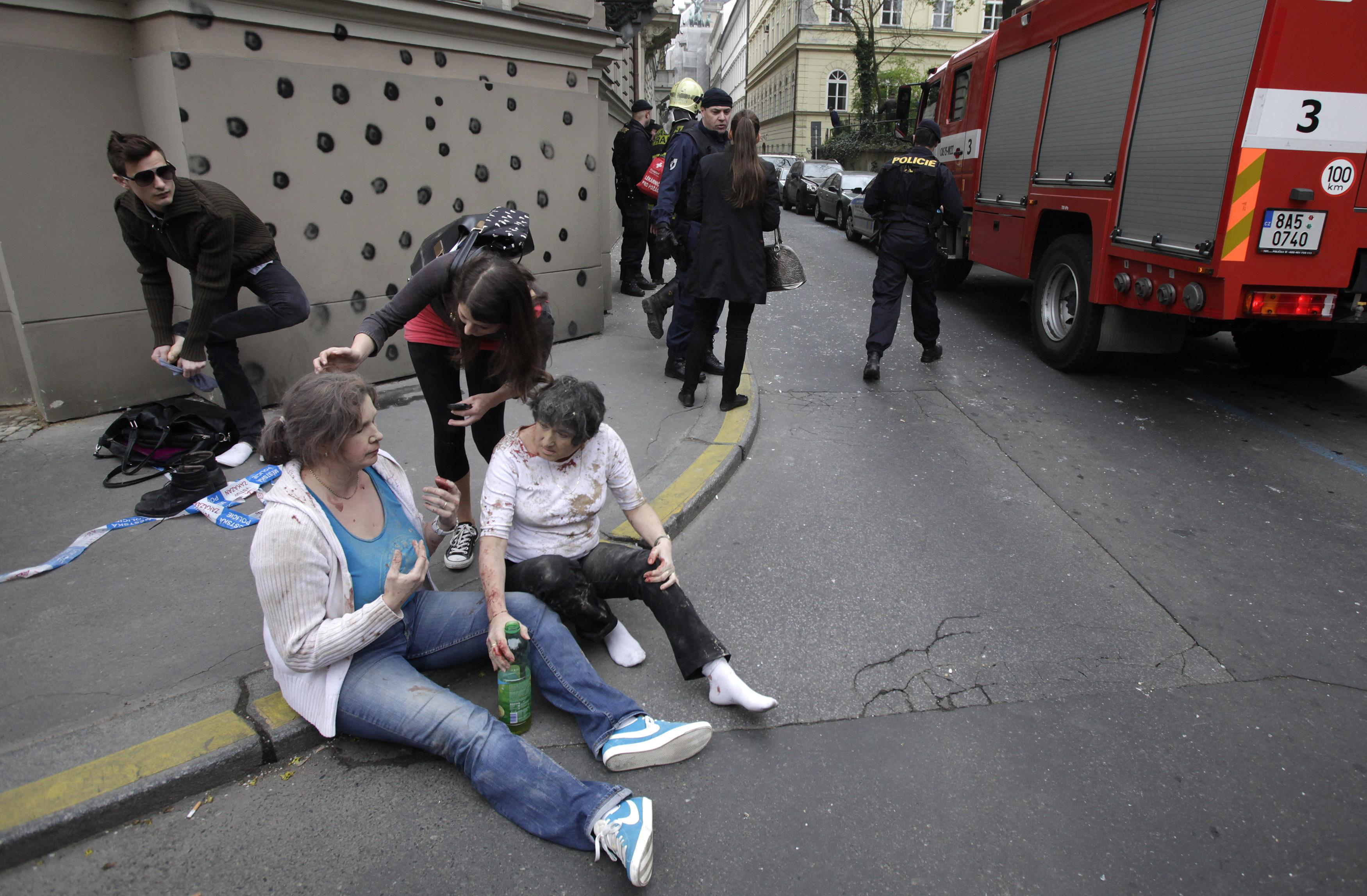 Injured people near blast site in Prague