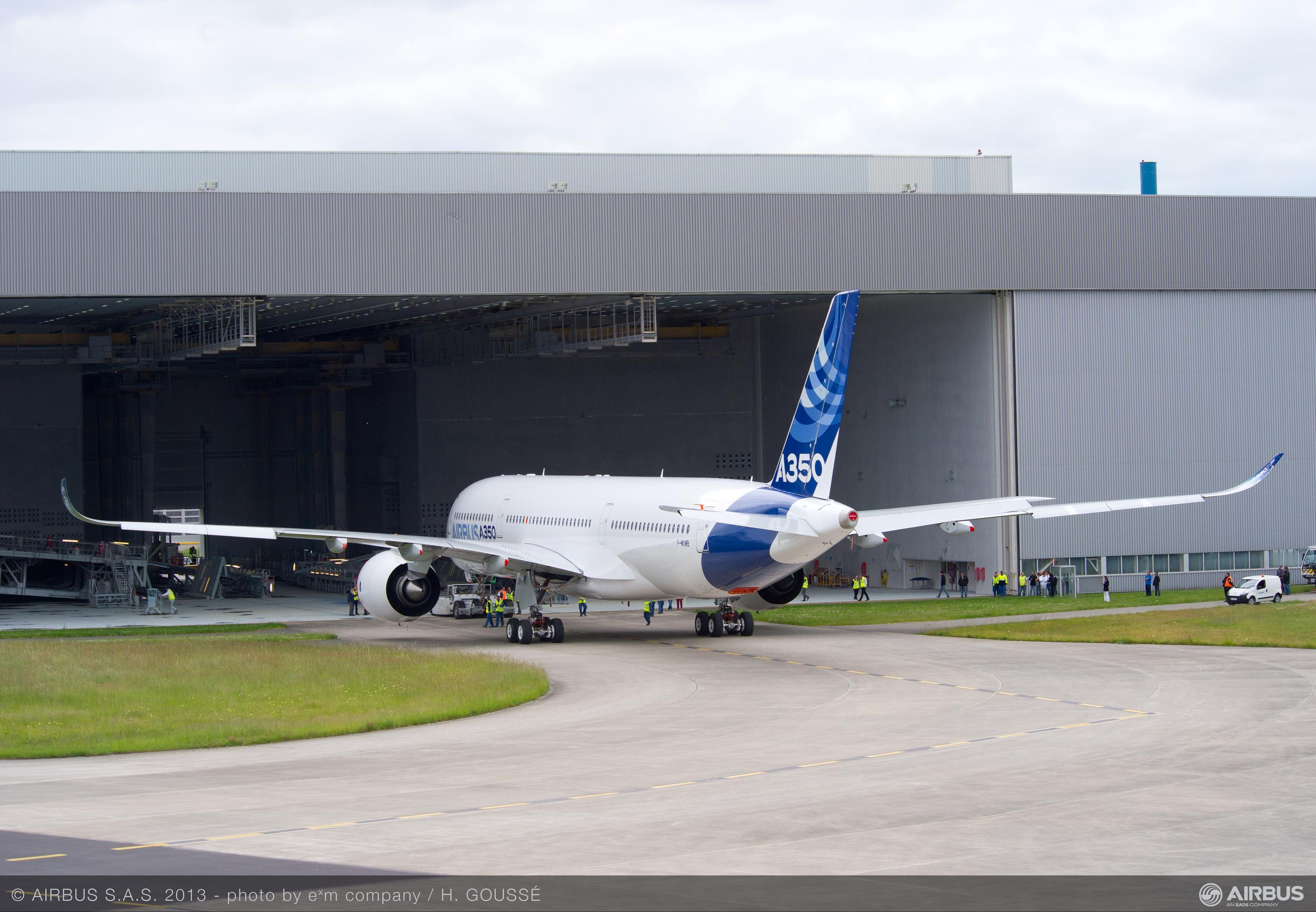 A350 Being Pushed Out Of Its Hangar