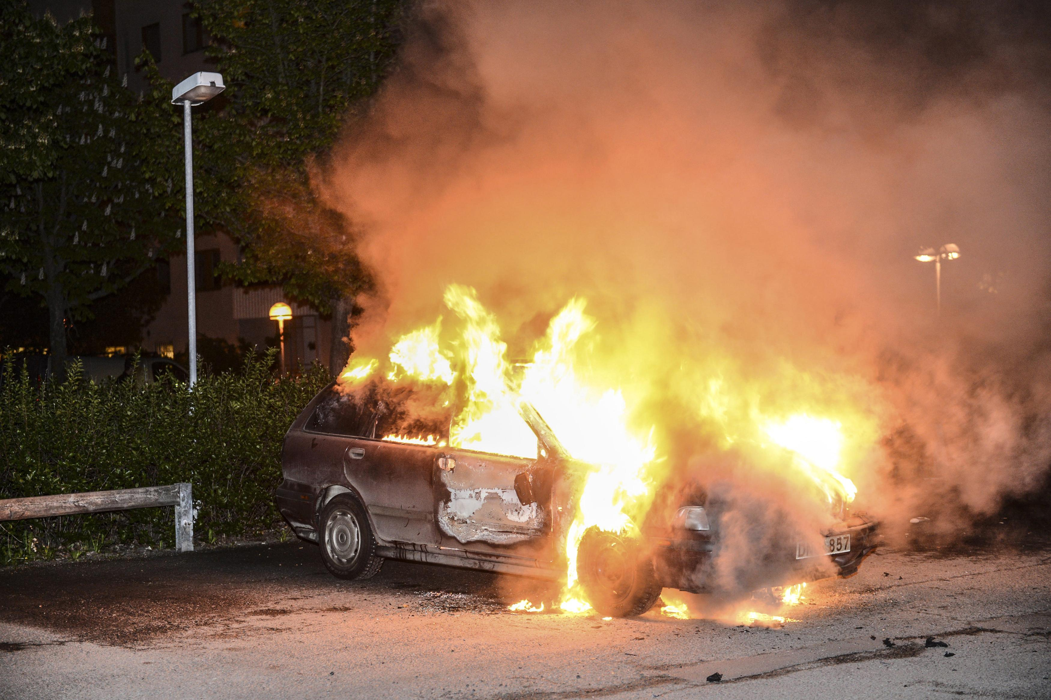 Car on fire in Sweden