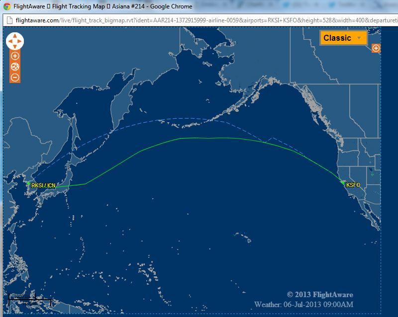 Asiana Airlines OZ214 Flight Path