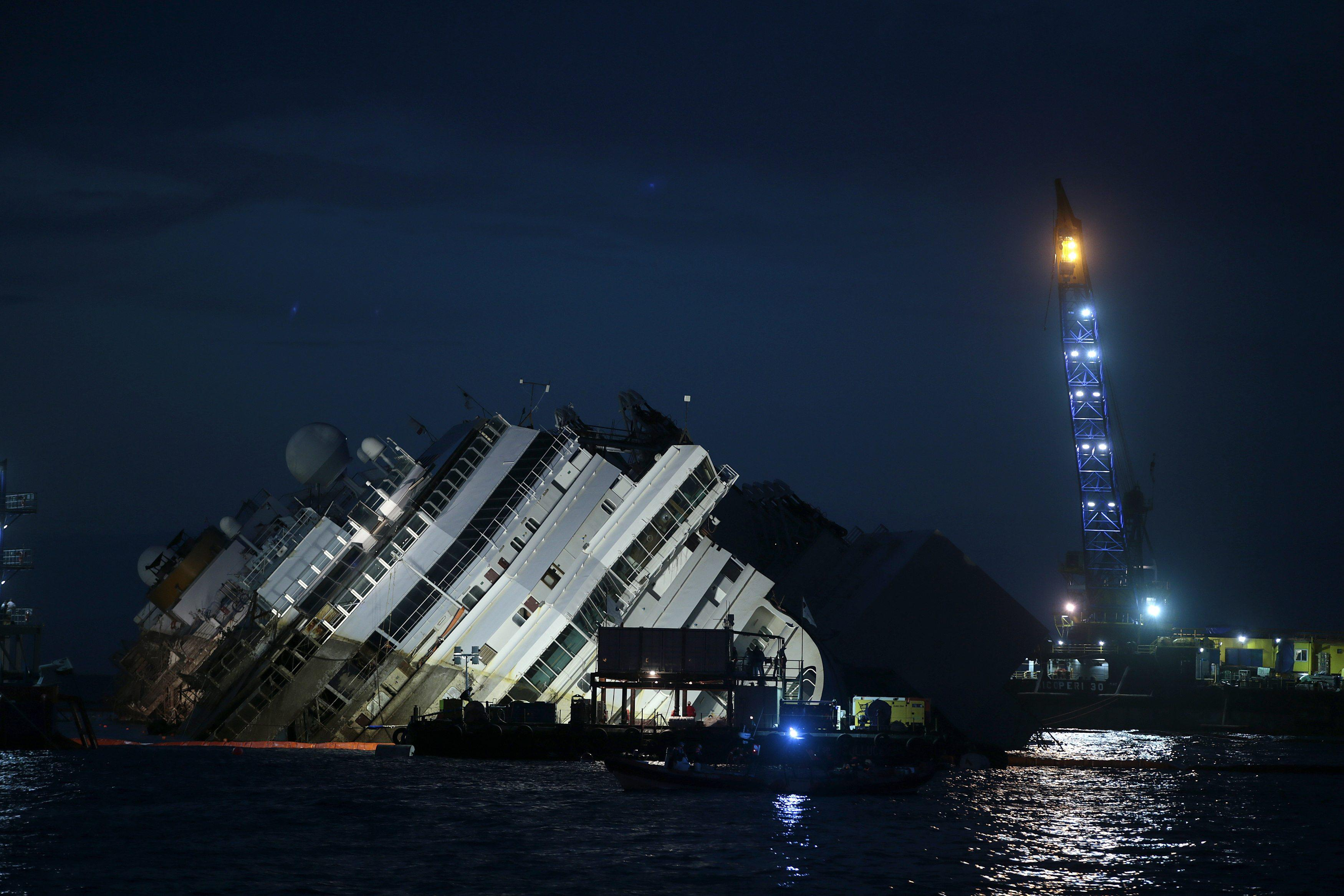 Costa Concordia still on its side