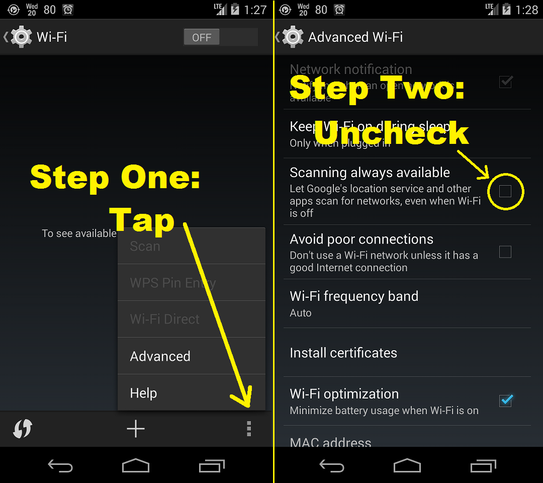 Turn Off Scanning Always Available Nexus 5 Battery Tips