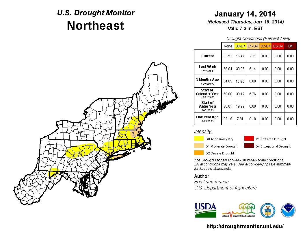 U.S. Drought Monitor Northeast
