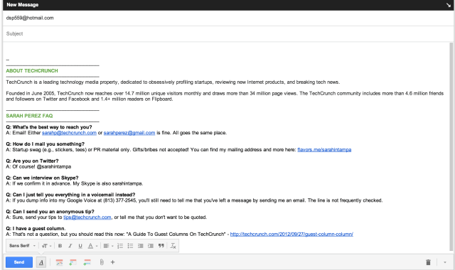 Screen Shot of Gmail Bug