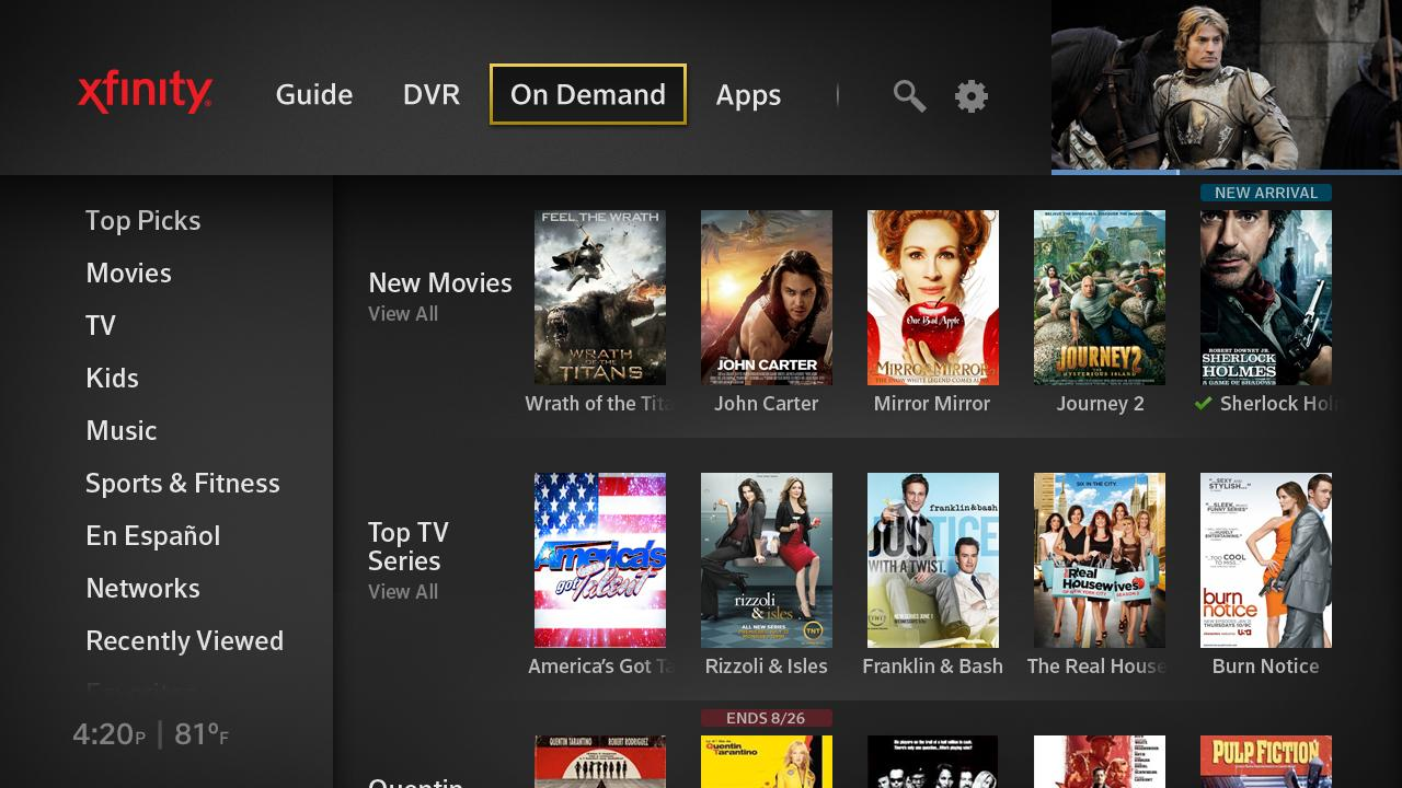 Comcast Xfinity X1 Interface