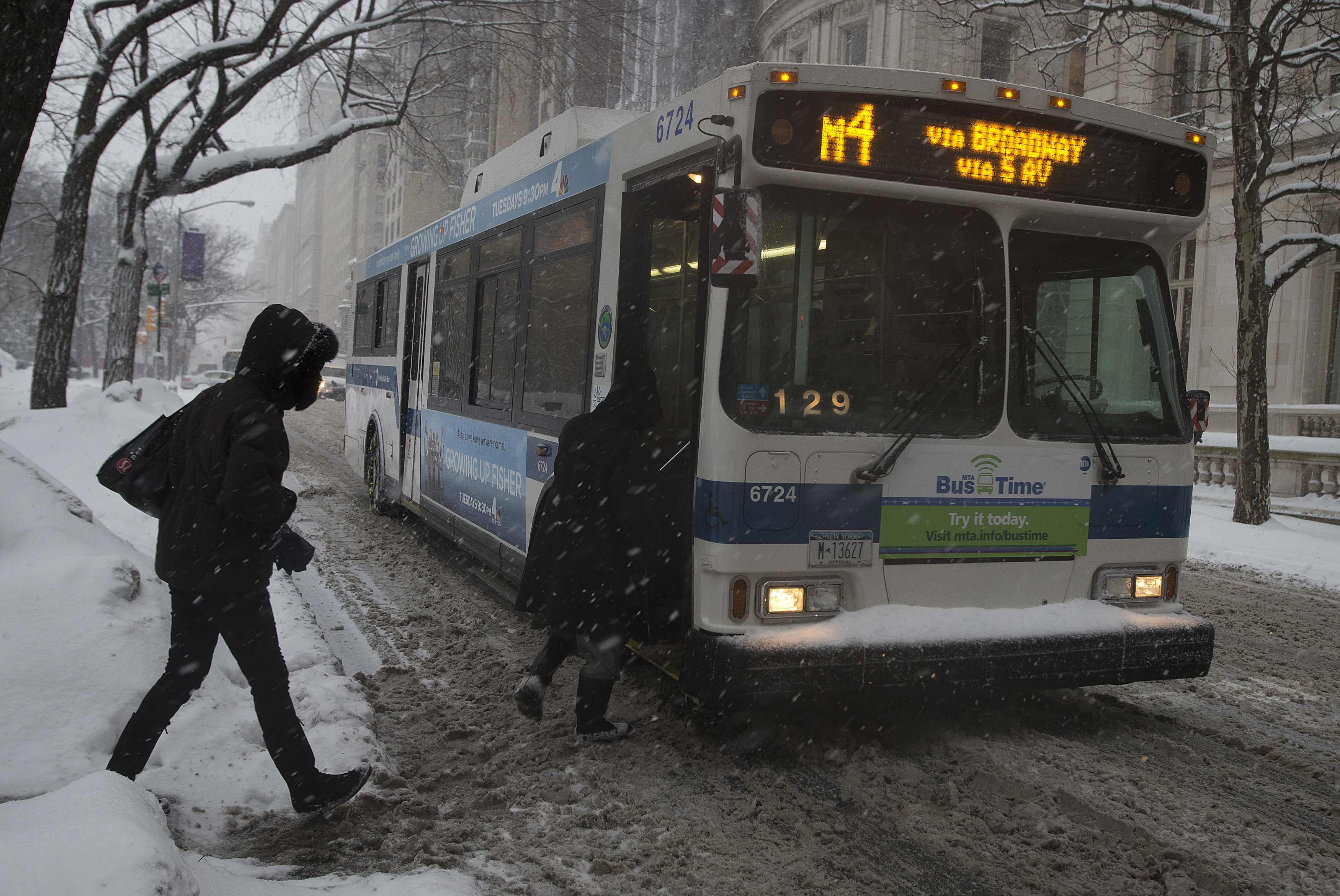 Winter Storm Pax NYC bus