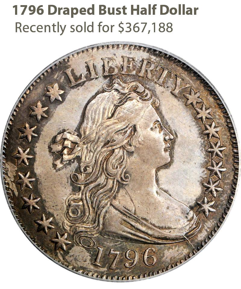 1796 Draped Bust Half Dollar F