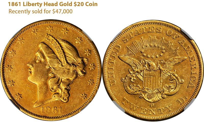 1861 Liberty Head Double Eagle F