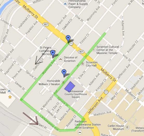Scranton St. Patrick's Day Parade 2014 Route Map