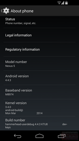 Prospective Android 4.4.3 KitKat settings page