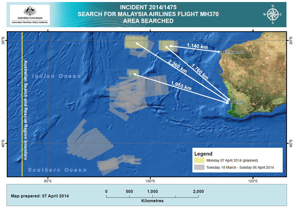Flight MH370 AMSA-2014-04-07 Search Area 2