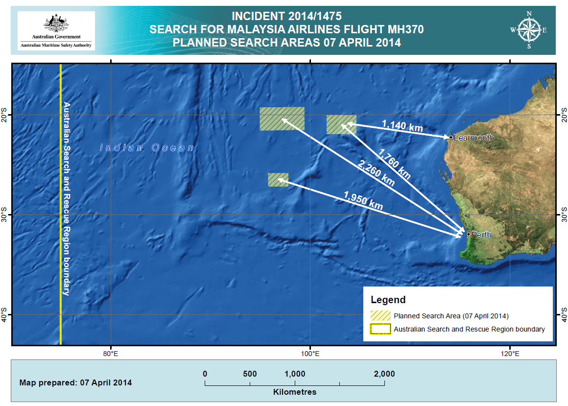 Flight MH370 AMSA-2014-04-07 Search Area