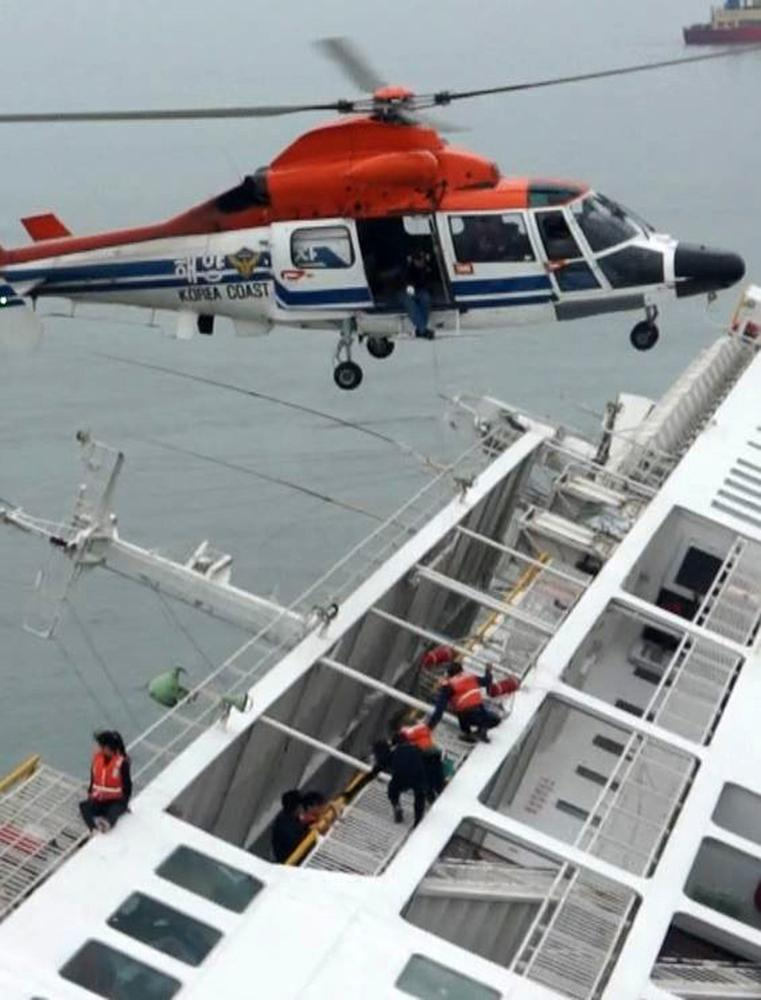 South Korea Ferry - Sewol Helicopter Closeup
