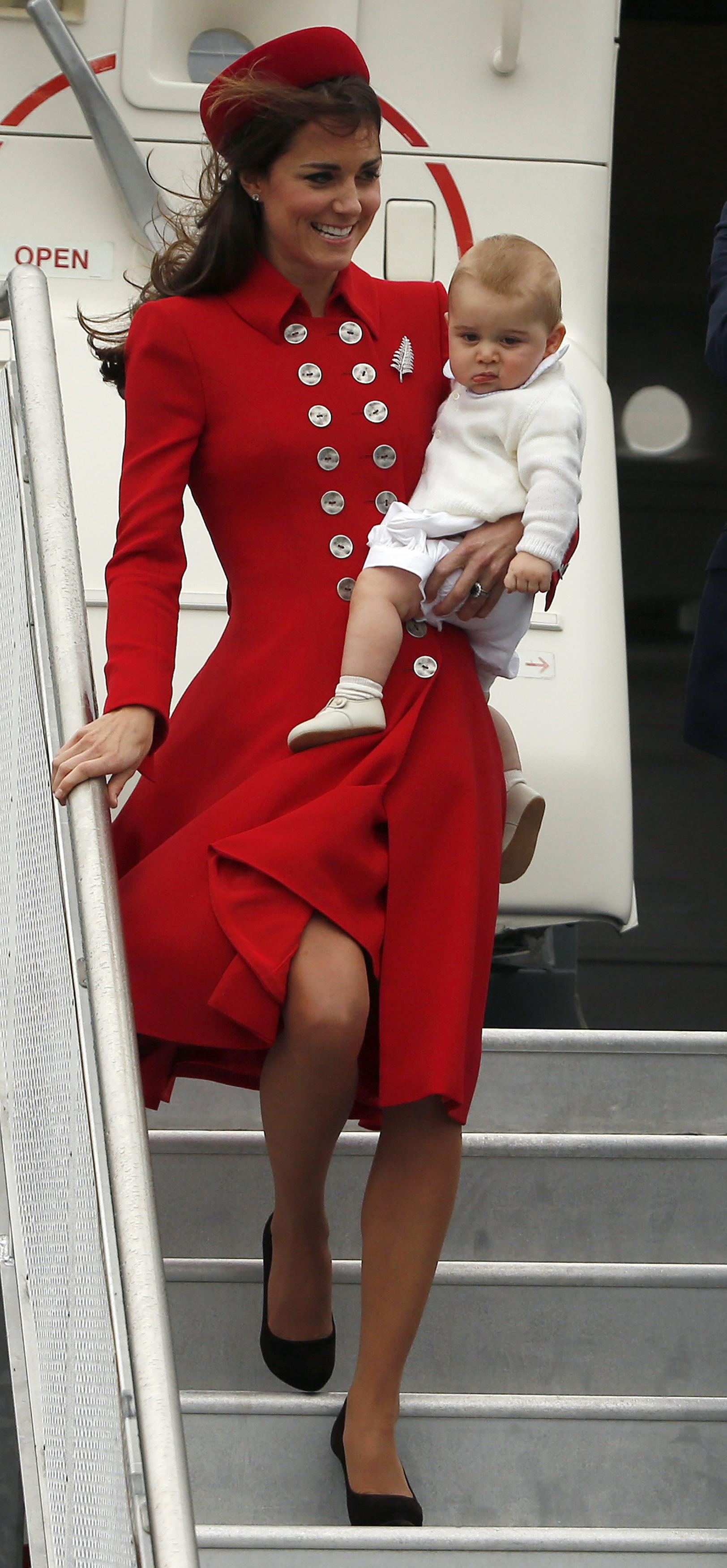 Kate Middleton, April 6 at Wellington Airport: Catherine Walker coat