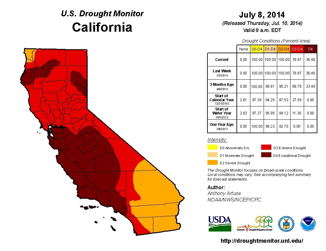 California Extreme Drought Map