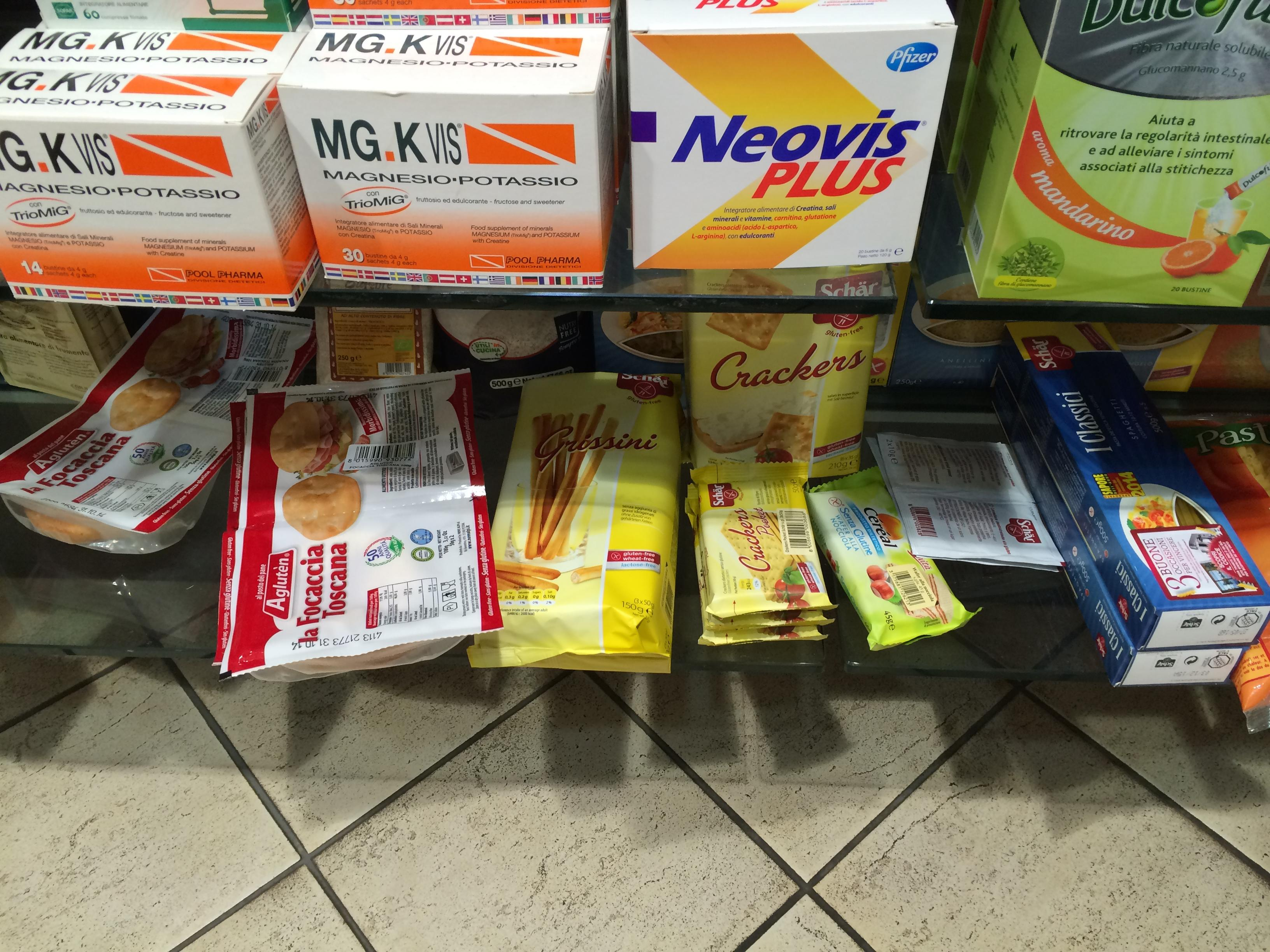 Gluten-free food in a Rome pharmacy