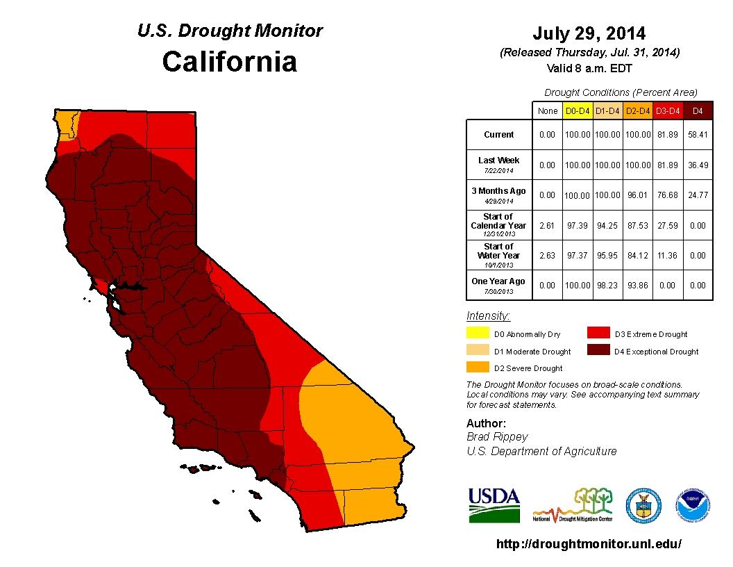 California Drought Map #2 July 29, 2014