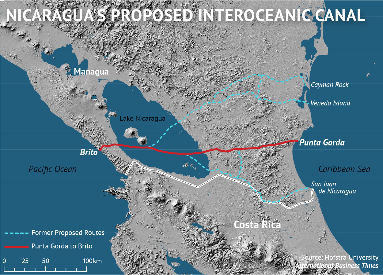 Nicaragua Canal Map Hofstra University
