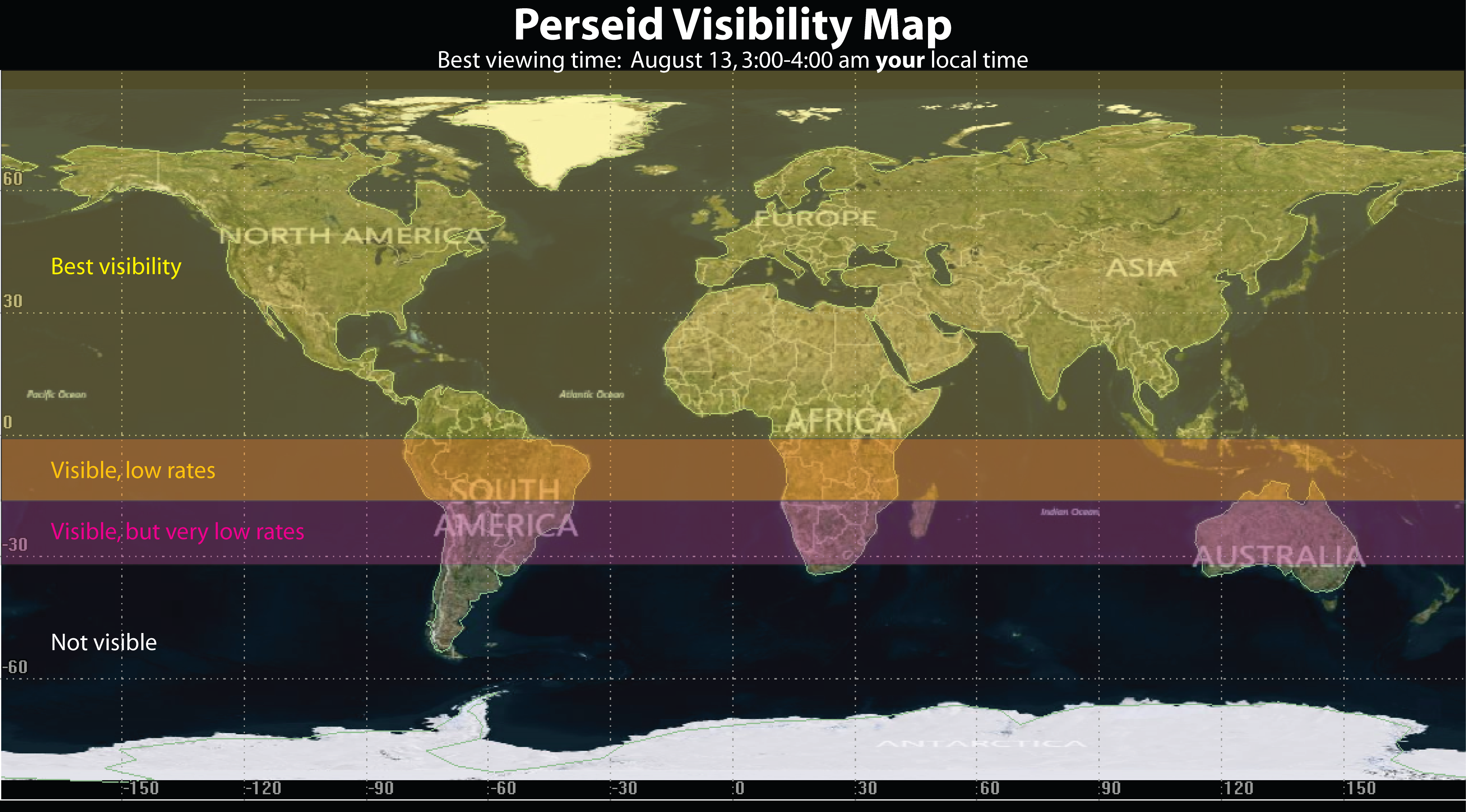 Perseid Meteor Shower 2014 Visibility Map