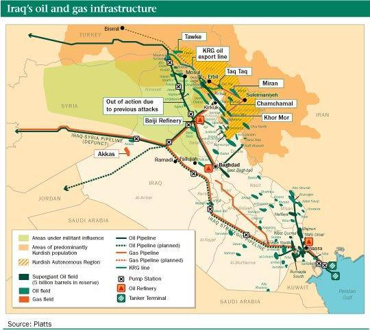 a map of iraq shows where the countrys critical oil infrastructure overlaps with areas under control of the islamic state or isis photo platts