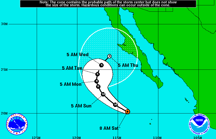 NOAA Hurricane Simon trajectory