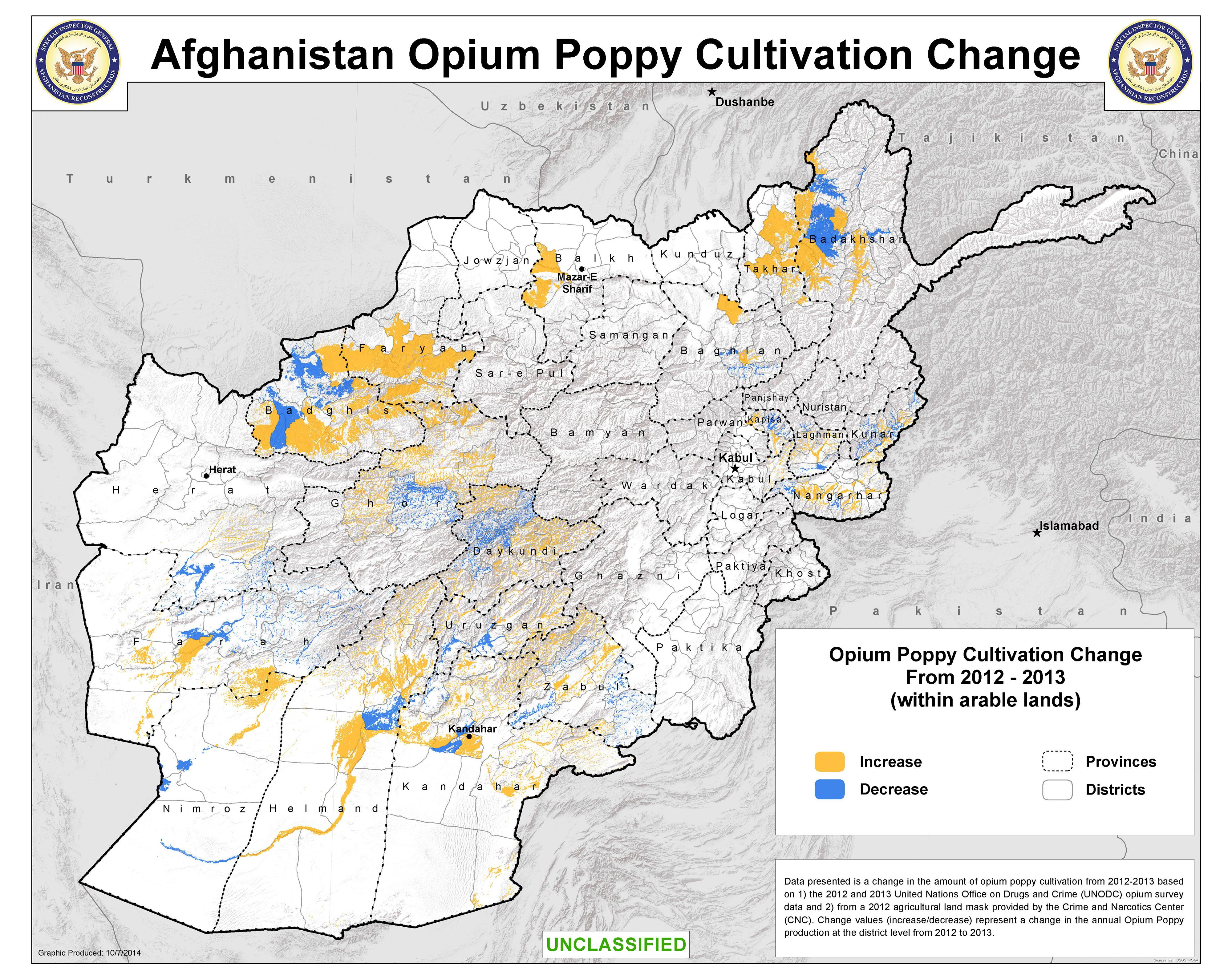 Afghanistan Opium Poppy Cultivation Change