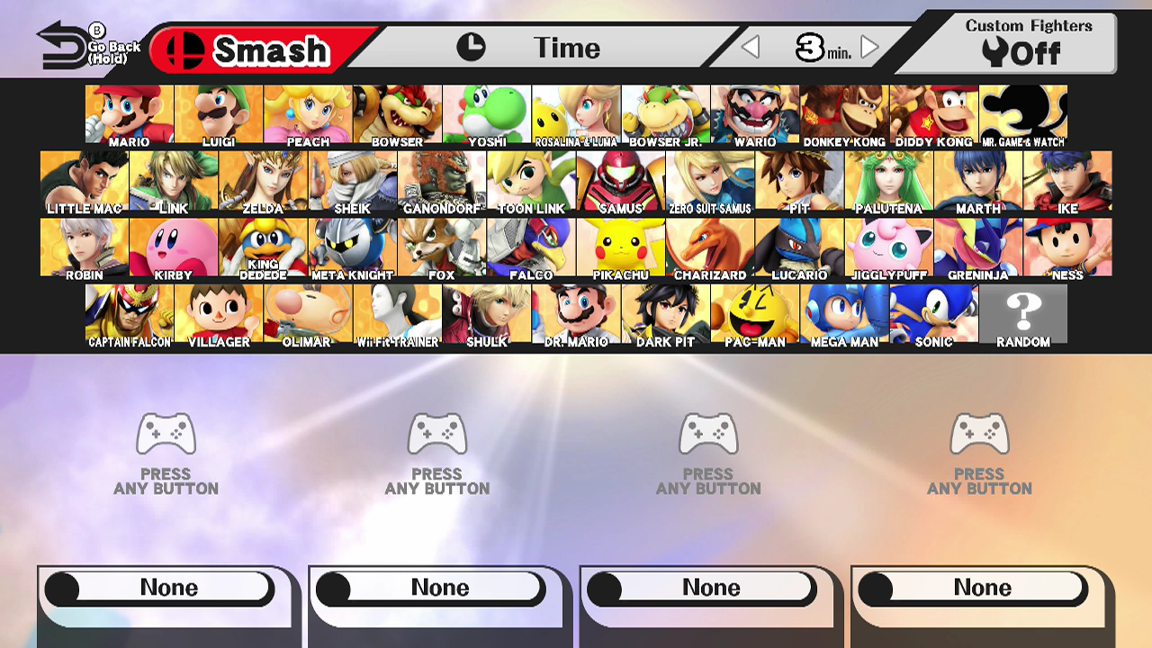Smash Wii U character select