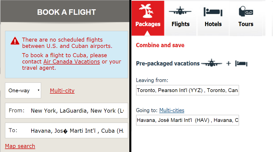 Air Canada Flights To Cuba