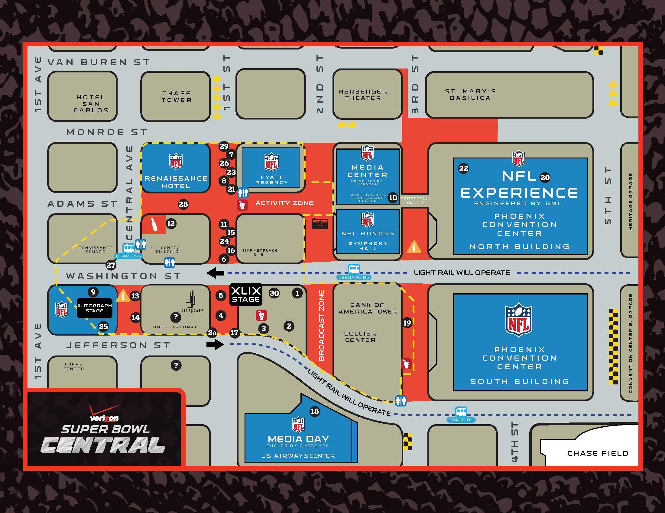 Verizon Super Bowl Central Map