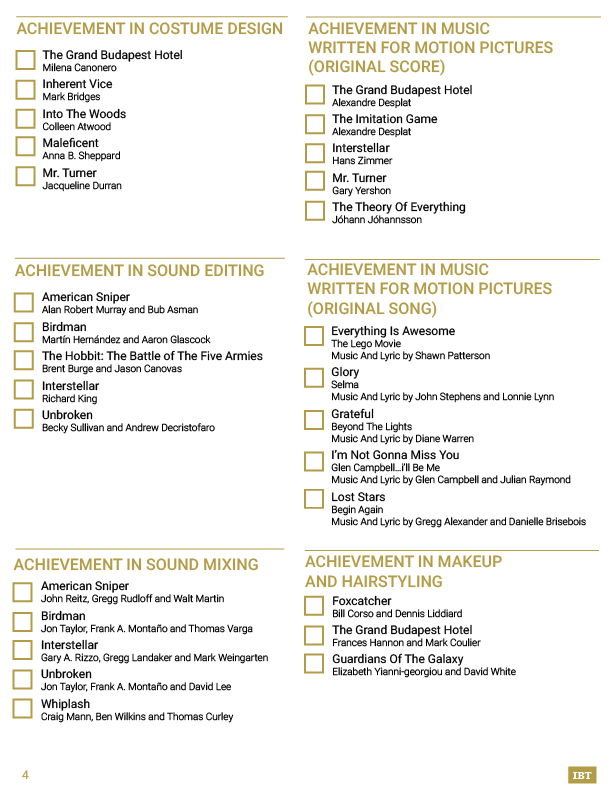 Oscars 2015: Printable Ballot For Watching The 87th Academy Awards ...